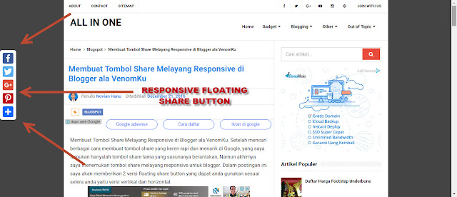Membuat Tombol Share Melayang Responsive Floating Share Button di Blogger ala VenomKu