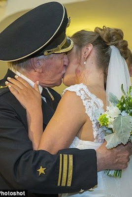 images of 84 yr old Russian actor Ivan Krasko marries 24 yr old Natalia Shevel