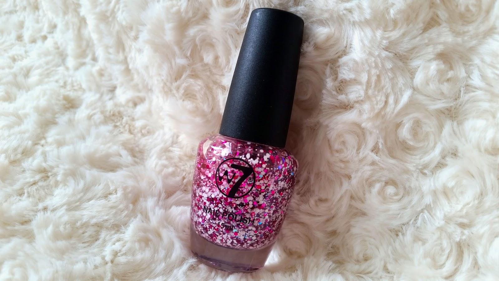 w7 pink shard nail polish, pink glitter nail polish