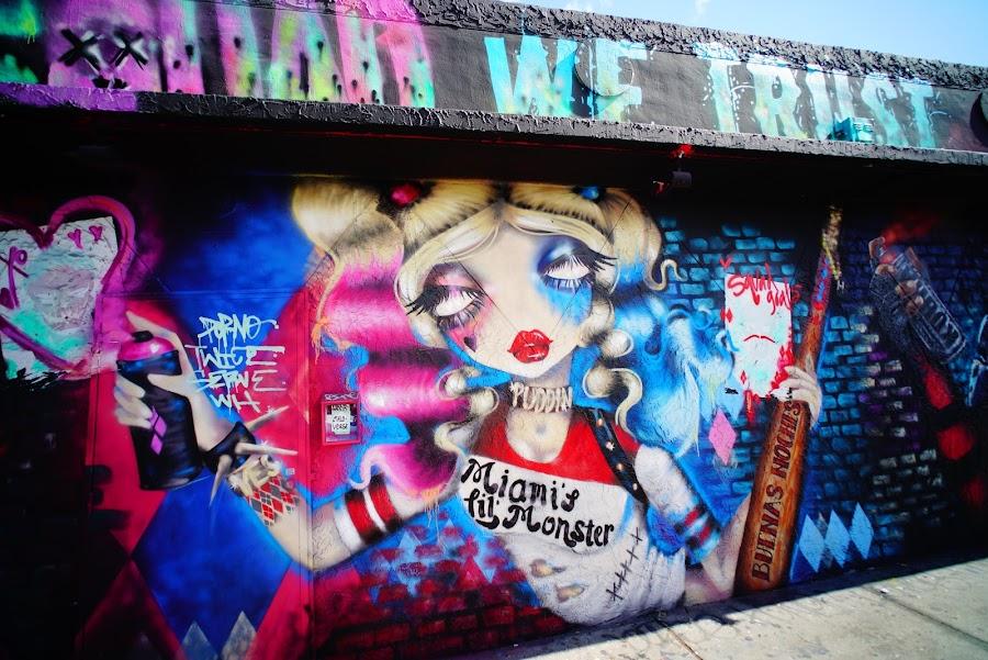 Colorful murals around Wynwood streets, Miami