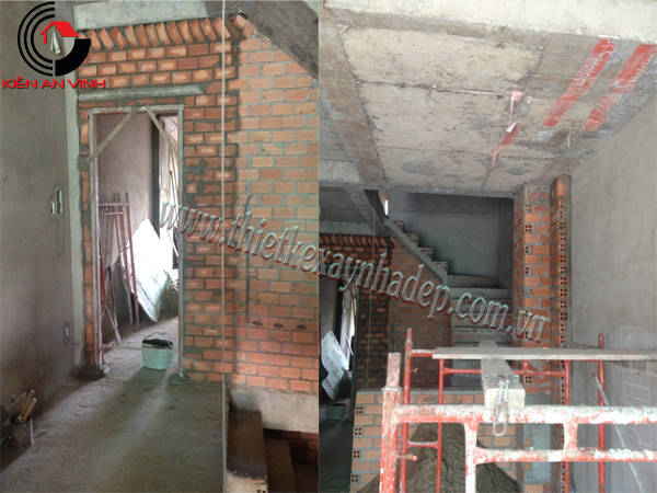 Thiết kế thi công xây nhà ống 2 tầng chị Trúc tại quận 7 Thi-cong-nha-pho-2