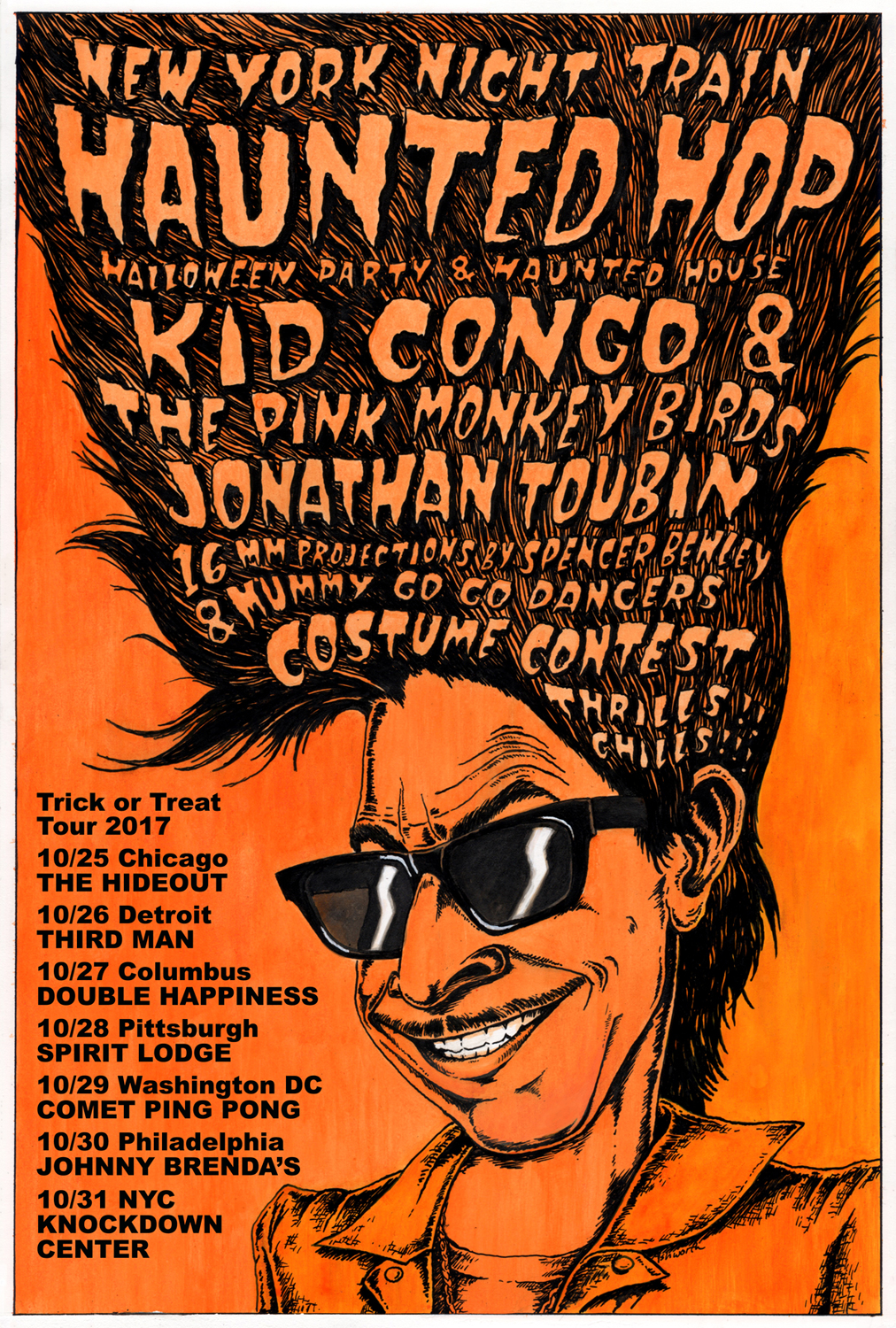 ny night train haunted hop halloween dance party tour with kid congo and the pink monkey birds dj jonathan toubin projectionist spencer bewley