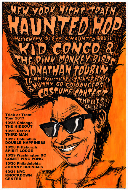 NY Night Train Haunted Hop Halloween dance party tour with Kid Congo and the Pink Monkey Birds, DJ Jonathan Toubin, projectionist Spencer Bewley, NYNT Mummy Dancers, costume contest, and more!
