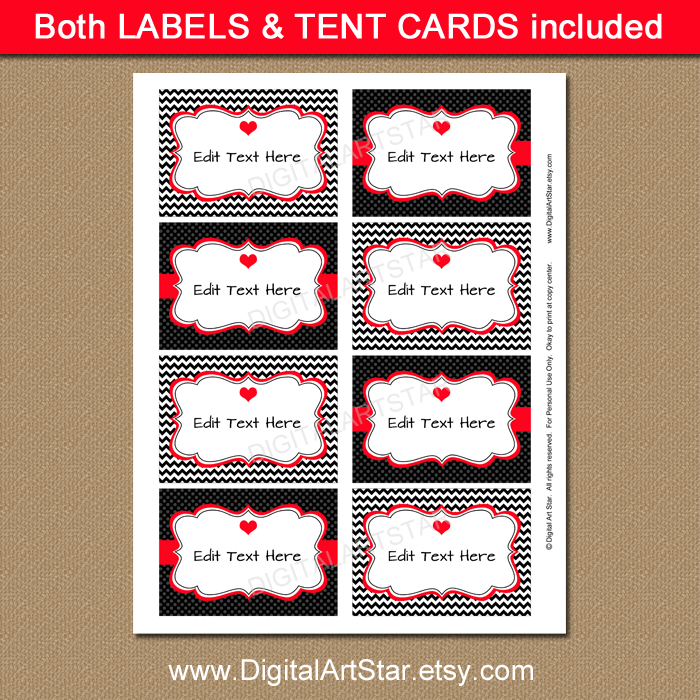 Black chevron editable buffet cards for Valentine's Day