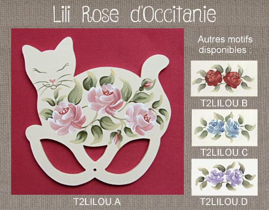 Tri-fils anneaux bois peint, sihouette de chat ornée de roses, couleurs au choix. Broderie et point de croix
