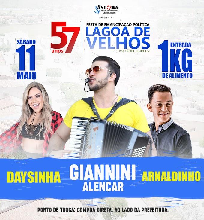Giannini Alencar, Daysinha e Arnaldinho são as atrações da Festa Emancipação Política de Lagoa de Velhos