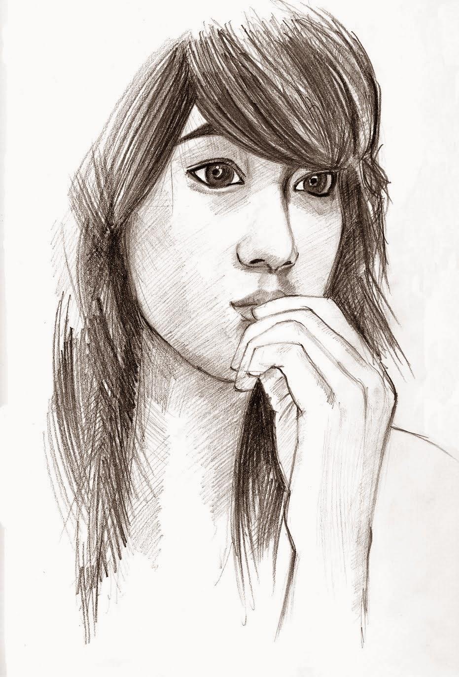 Download Gambar Sketsa Wajah Wanita