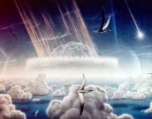 Artist's conception of an asteroid crashing into the Yucatan Peninsula about 65 million years ago.