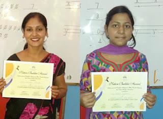 शीतल शर्मा व पल्लवी अग्रवाल को दिये गये प्रमाणपत्र