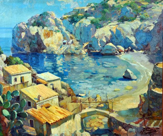 Carlos García Cuevas, Cala Deía, Mallorca en Pintura, Mallorca pintada, Paisajes de Mallorca