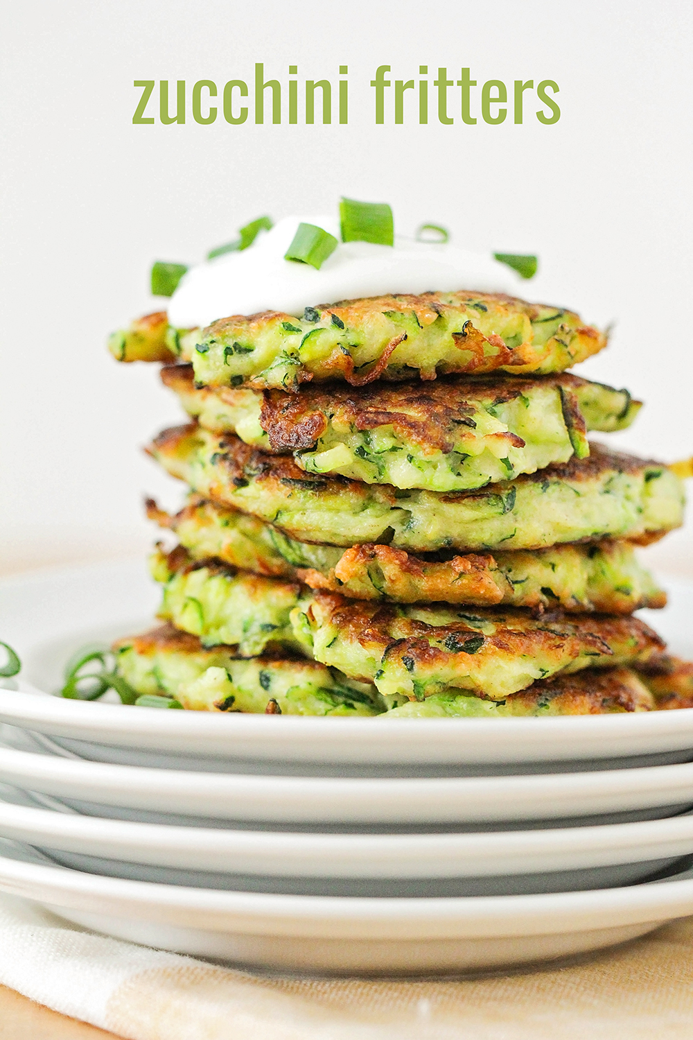 These delicious and savory zucchini fritters are the perfect summer side dish!