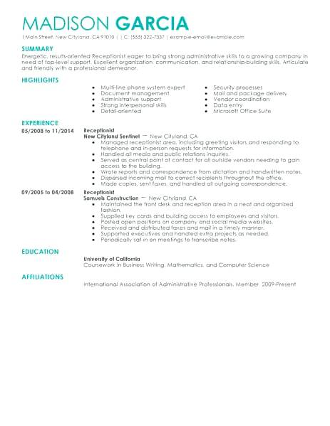 Samples Of Receptionist Resumes 2019 - Resume Templates