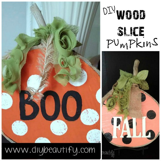 How to make Wood Slice Pumpkins at www.diybeautify.com
