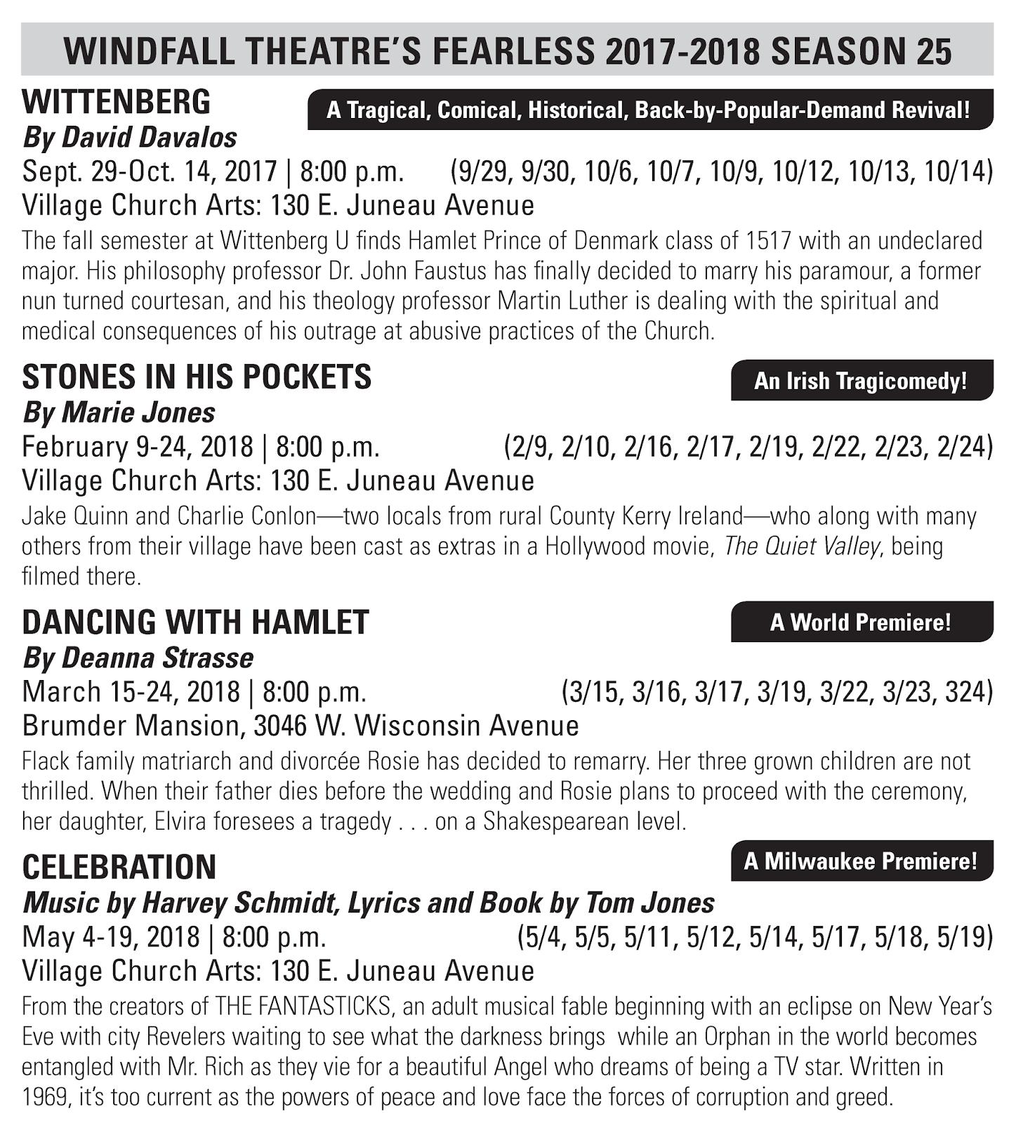 WINDFALL SEASON 25 CONTINUES - Windfall Theatre