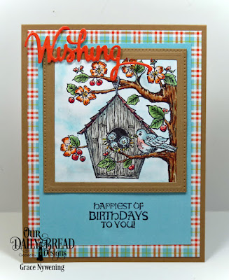 Our Daily Bread Designs Stamp Sets: Birdhouse, Woodpecker, Our Daily Bread Designs Custom Dies: Pierced Squares, Wishing, Our Daily Bread Designs Paper Collection: Birthday Brights