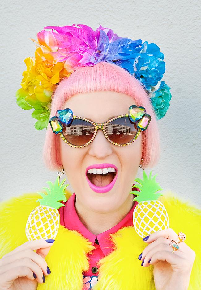 flower headdress, rainbow flower crown, marina fine pineapple earrings
