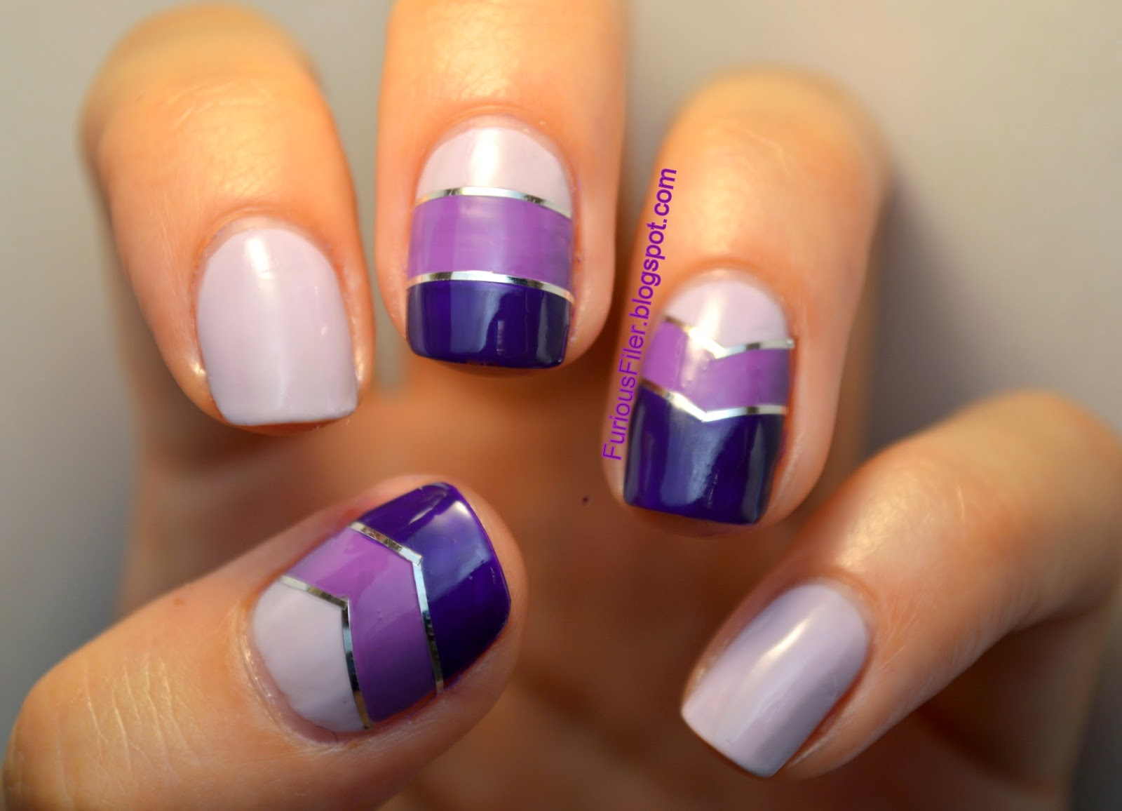 puple ombre striping tape chevrons nail art
