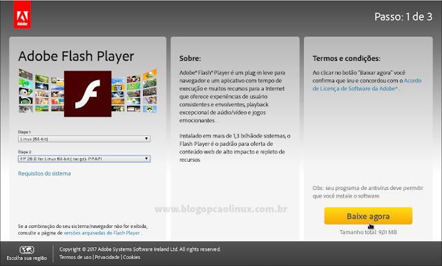 Selecione a arquitetura do seu sistema operacional e a versão PPAPI do Adobe Flash Player (.tar.gz)