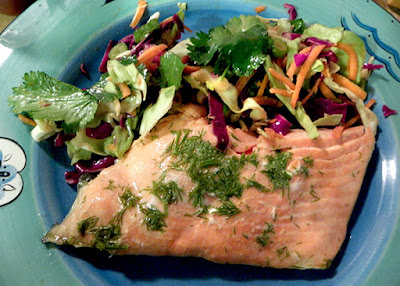 Slice of Salmon Served with Asian Slaw