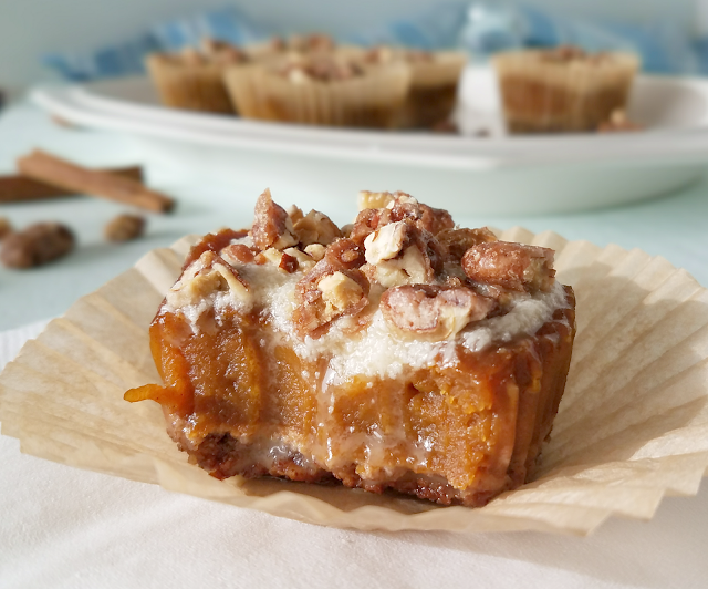 These individual Maple Pecan Pumpkin Pie Tarts are the perfect size for each of your Thanksgiving guests, yet they're bursting with flavor thanks to the pecan crust, maple glaze and perfectly-spiced pumpkin pie filling! Since they are gluten-free, grain-free, egg-free and dairy-free (vegan), they can be enjoyed by just about all of your guests, even those with food allergies. Get out your muffin pan and give these a try!