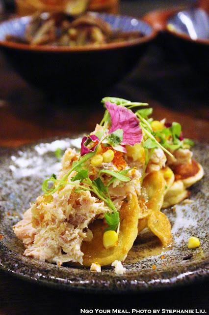 Okonomiyaki: Scallion and Corn Mean Pancake, Smoked Trout, Tobico, and Foie Maple Syrup at Mu Ramen