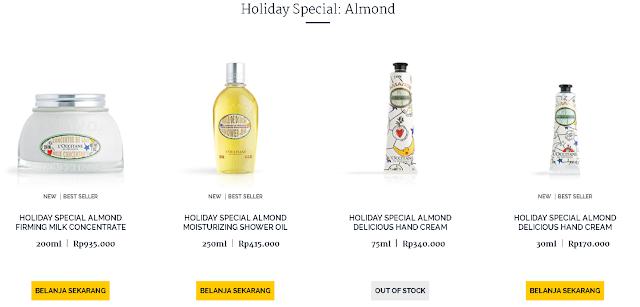 minyak almond alami untuk wajah dari L'Occitane