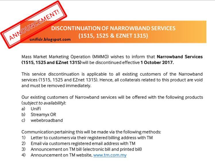 Discontinuation of Narrowband Services (1515,1525 & EZNet 1315)
