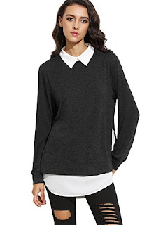 Women's Classic Collar Long Sleeve Curved Hem Pullover
