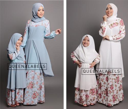 16 desain contoh gambar model baju couple pesta keluarga Baju gamis couple ibu ayah anak