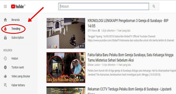 Cara Melihat Video Yang Sedang Trending di youtube