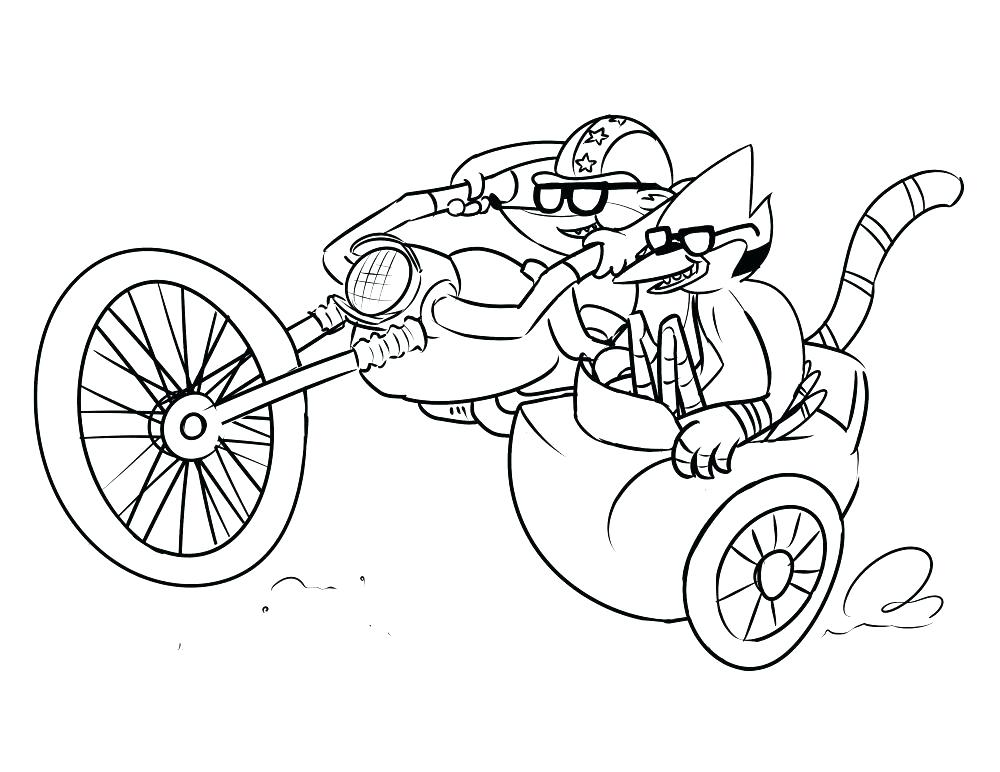 Rigby Driving Motorcycle And Mordecai Coloring Page - Free Printable ...