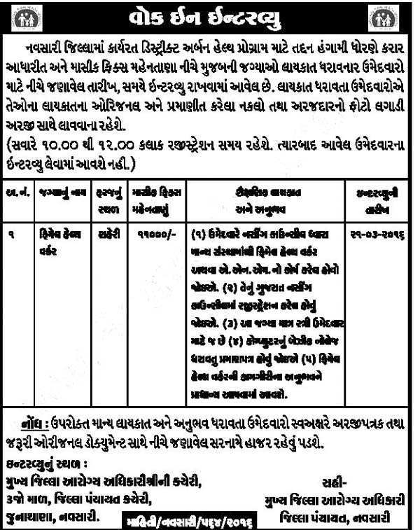 District Urban Health Programme FHW Recruitment 2016