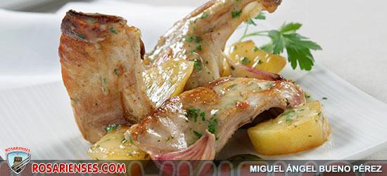 Conejo al ajillo con patatas fritas   Rosarienses, Villa del Rosario