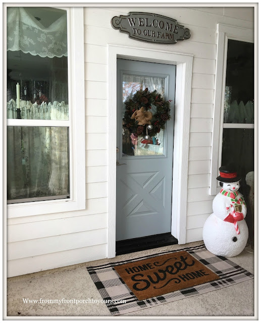 Christmas Front Porch Decorations-Farmhouse Porch-Snowman Blowmold-From My Front Porch To Yours