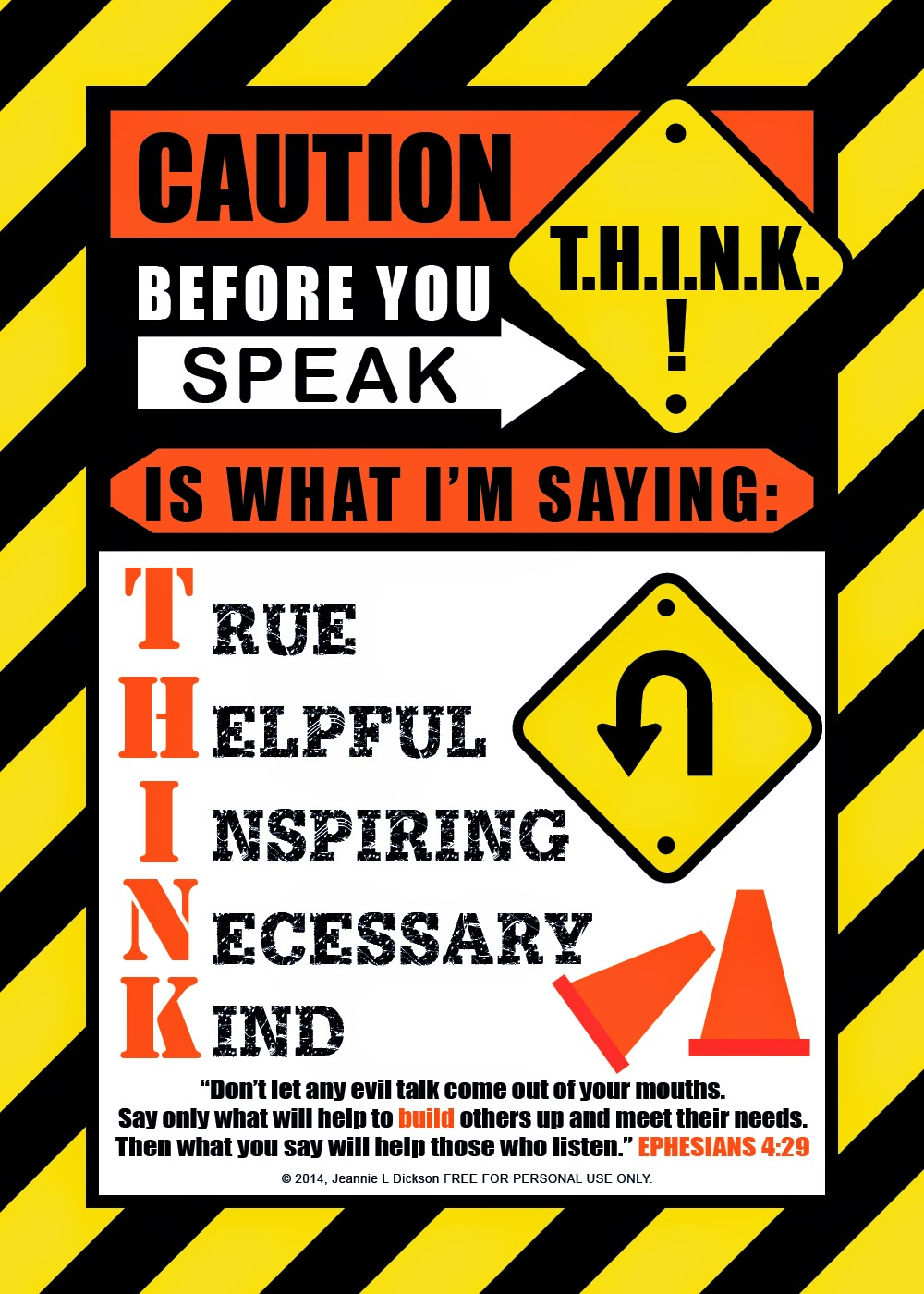 HoneyBops: Before you speak   T H I N K  Free Printable 5x7