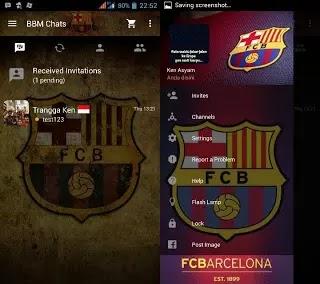 BBM Mod Barcelona Tema SepakBola Apk 3.0.1.25 Mjenis Terbaru 2016