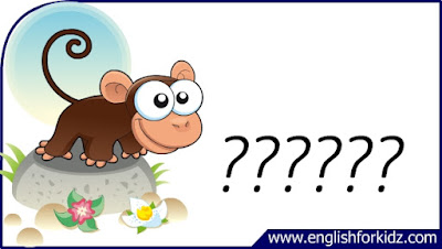monkey flashcard, cartoon monkey image, esl flashcard