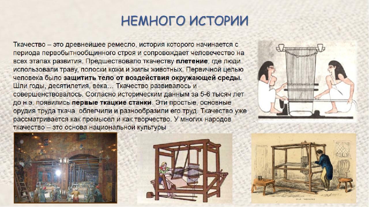 история развития ткачества в картинках употребляют спортсмены время