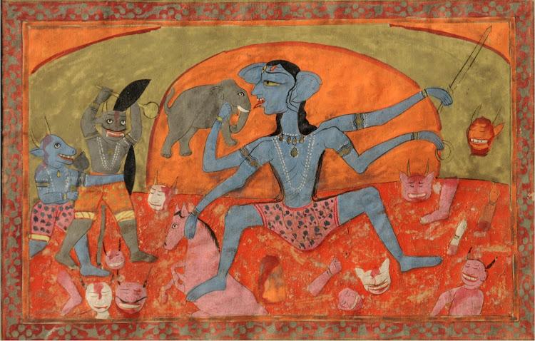The fierce-looking blue-complexioned Kali is charging against demons  - Pahari School, c1825-1850
