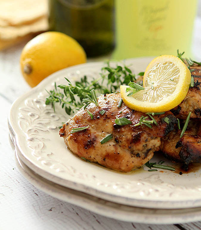 Limoncello and Herb Barbecue Chicken Thighs - National Chicken Month | Renee's Kitchen Adventures