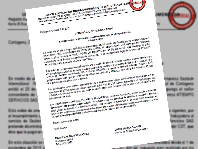 Ratificada orden de arresto para la representante legal de a tiempo servicios Johana Hurtado