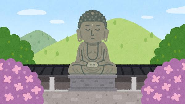 鎌倉の大仏のイラスト(背景素材)