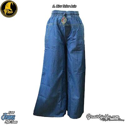 Celana Kulot jeans Full Karet Pinggang Tali Saku Samping Kanan Kiri