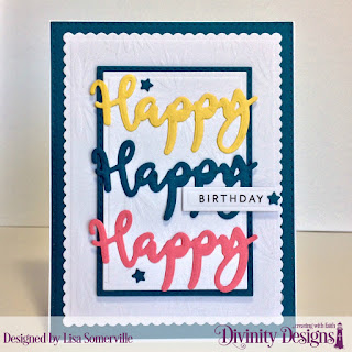 Divinity Designs Stamp/Die Duos: Happy, Custom Dies: Double Stitched Rectangles, Rectangles, Scalloped Rectangles, Sparkling Stars, Mixed Media Stencils: Flower Burst