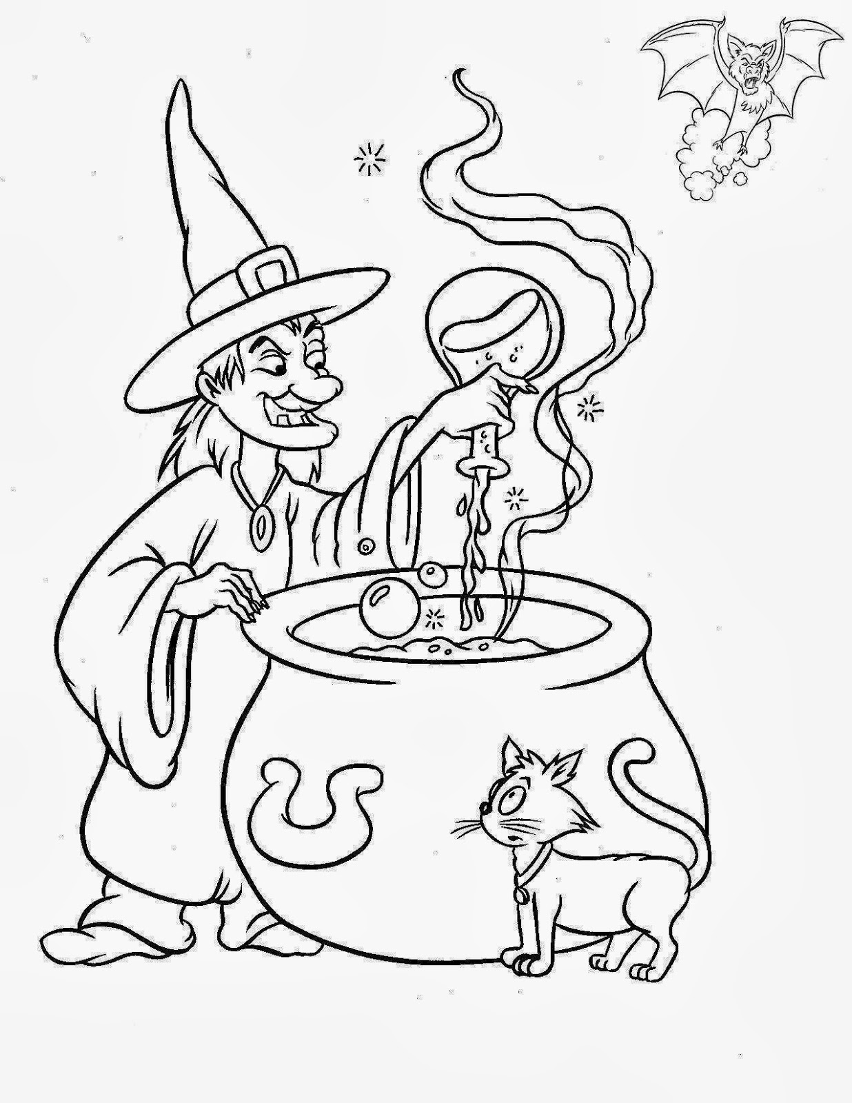 ImagesList.com: Halloween Witches for Coloring, part 1