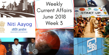 Weekly Current Affairs June 2018: 3nd Week