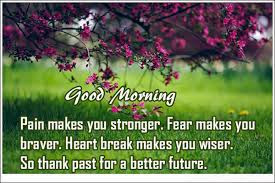 good morning quotes: pain makes you stronger, fear makes you braver.