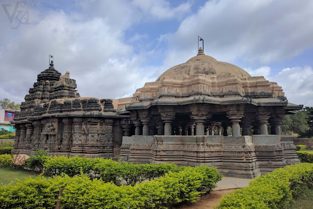 Isvara Temple, Arsikere - Star shaped shrine (left) and open hall dome (right)