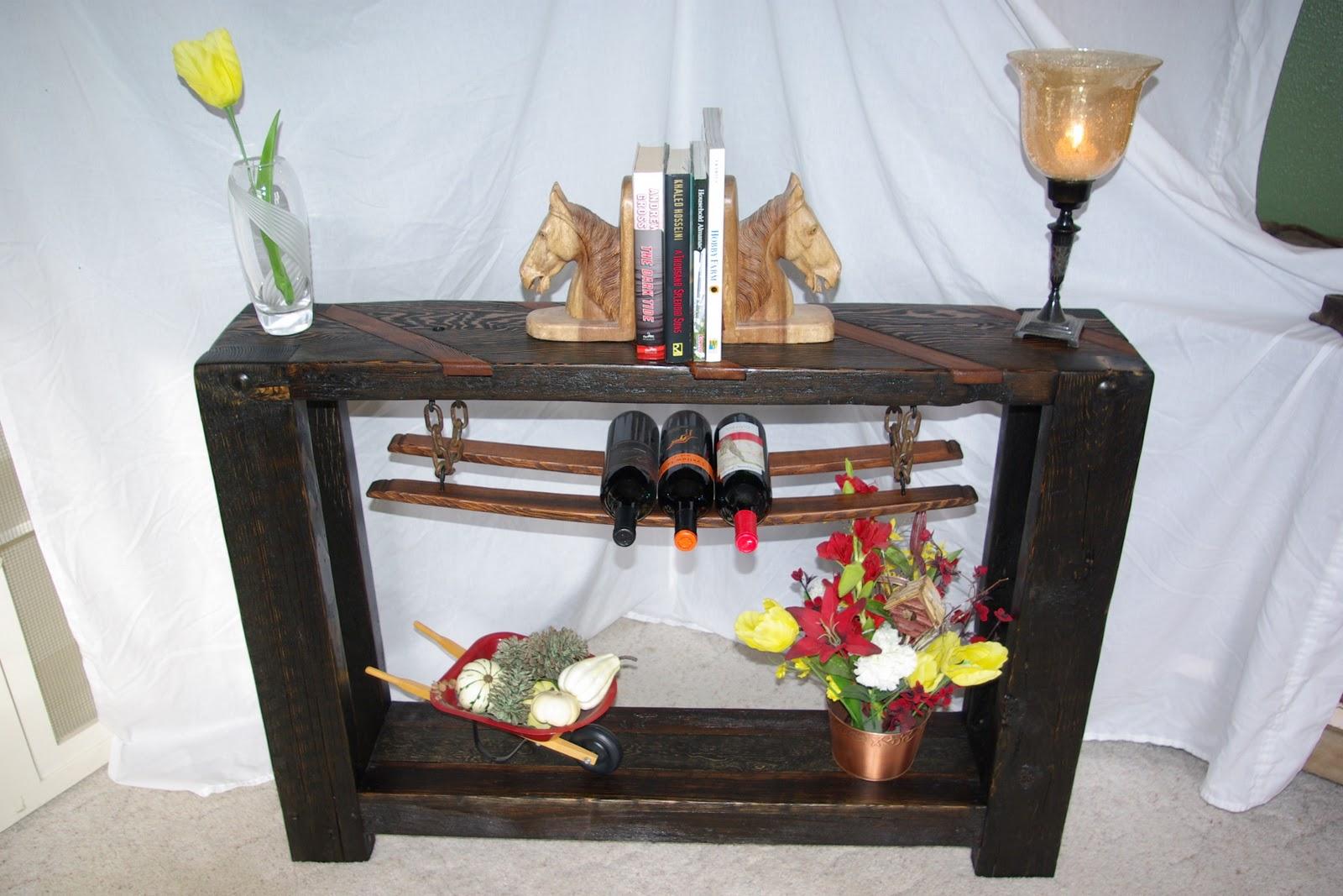 Reclaimed Rustics Rustic Sofa Table Wine Storage