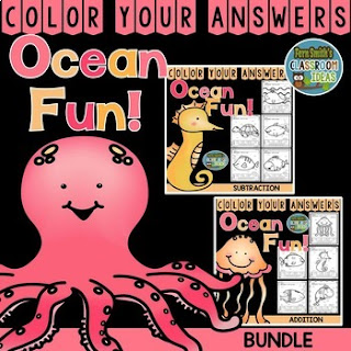 Addition & Subtraction Ocean Fun - TEN Color By Numbers Printables for some Ocean Math Fun in your classroom! Looking for a resource to excite and engage your students? Print this packet, add it to your weekly plans and you're all done. Your students will love working on these skills during seat work, bellwork, center time, small group lessons, morning work, tutoring... they are even perfect for homework! Are your parents asking for extra work for their children? #FernSmithsClassroomIdeas